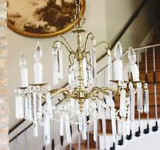 Antique Crystal & Brass Chandelier Rectagular Prisms Gorgeous