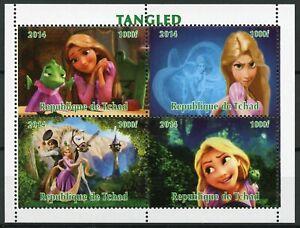 Chad Walt Disney Stamps 2014 MNH Tangled Rapunzel Cartoons Animation 4v M/S