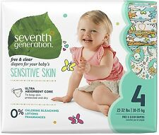 Seventh Generation Diapers, Free - Clear for Sensitive Skin, Size 4, 27 ea