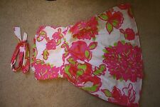 Lilly Pulitzer Pink Green Ivory Corset Dress Cotton 4 S