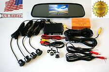 "Car Reverse 4.3"" LCD Rearview Mirror Monitor Backup Camera Parking Sensor Silver"
