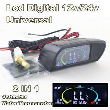 Universal Digital Water Temperature Gauge Voltmeter Voltage Meter Car Truck