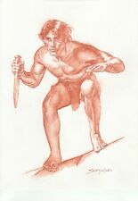Tarzan -Original Sanguine Drawing - Sanjulian hand signed