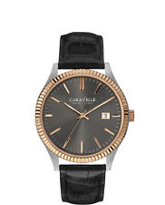 Caravelle New York 45B131 Black Dial Two Tone Stainless Steel Quartz Men's Watch