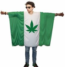 Adults Cannabis Cup Festival Flag Poncho Mary Jane 420 Fancy Dress Costume