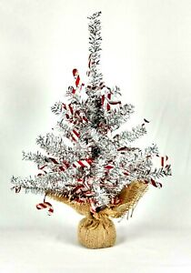 """Joy & Leo Silver Tinsel Christmas Tree Table Top Sequin Candy Cane 18"""" Holiday"""