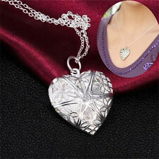 Vogue Silver Plated Necklace Pendant Love Heart Valentine Lover Locket Chain