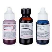 AmScope 3pm 30ml Simple Chemical Stains Kit for Microscope Slides