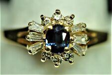 Vintage Diamond  & Sapphire 14k Gold Handmade Woman's Ring Appr size 6 RARE