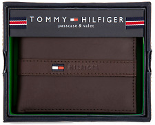 Genuine New Tommy Hilfiger Brown Leather Men Ranger billfold wallet Authentic