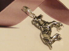 LOBSTER CLIP ON SILVER PRANCING HORSE CHARM