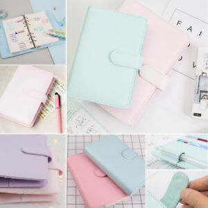 A5 Leather Loose Leaf-Ring-Binder-Notebook Macaron Colour Agenda Planner Diary