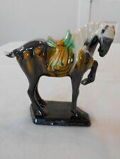 Vintage Chinese Luoyang Tang Style Sancai Ceramic Majolica War Horse Figurine