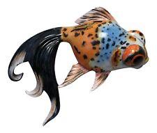 Fancy Blue Orange Black Specks Goldfish Child Room Bath 8 Inch Wall Decor Plaque
