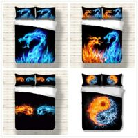 3D Fire and Ice Dragon Bedding Duvet Cover Set Comforter Cover Pillow Shams 3PCS