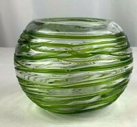 """Hand Blown Table Vase Mexican Round Glass Green 5"""" Tall Art Glass"""