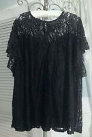 NEW Plus Size 1X Black Lace Blouse Flutter Sleeve Top Shirt