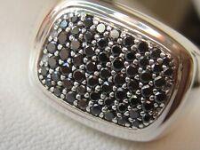 $1450 DAVID YURMAN SS MENS WIDE BLACK DIAMOND RING