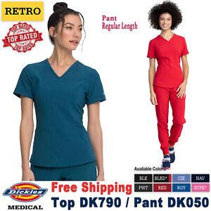 Dickies Scrubs Set RETRO Women's V-Neck Top & Mid Rise Jogger Pant DK790/DK050