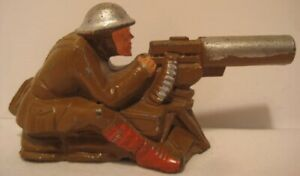 Old Lead Barclay Army Military Machine Gunner sitting on Sand Bags Cast Helmet