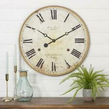 Large Wall Clock Rustic Round Roman Numerals Wood Metal Watch Living Room Decor
