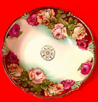 """ANTIQUE BOWL HAND PAINTED CABINET 9"""" RED & YELLOW ROSES BEADED GOLD ACCENTS"""