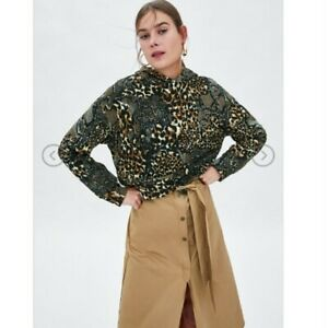 Zara Trafaluc Snake and leopard Print Hoodie Cropped Sweater