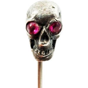 RARE Antique VICTORIAN Memento Mori Silver Skull Ruby Paste Stick Pin Stickpin