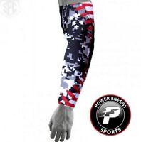 Baseball Sports Compression Arm Sleeve (Black Digital Camo) Baseball Stitch