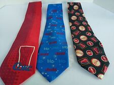 Lot of 3 Coca Cola Coke Brand Neck Ties Christmas Logo Glass Cup Soda Red Blue