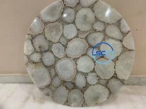 Coffee Table Round Natural Colour Agate Stone Top Coffee Table Agate table top
