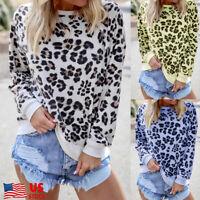 Womens Leopard Raglan Long Sleeve T Shirt Casual Tops Basic Tee Blouse Sweater