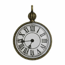 5 QUALITY ANTIQUE BRONZE STEAMPUNK POCKET WATCH~CLOCK~PENDANTS~GLASS FACE (66D)