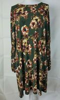 RK Size 22W Long Sleeve Dress Plus Size Stretchy Green Floral Balloon Sleeve