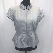 Worthington Women's Gray Short Sleeve Zip Off Blazer Top Size M
