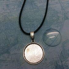 38264 Antiqued Silver Square Bezel w// Glass Tile Cabochon-pendant kit 6sets