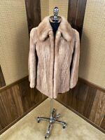 VINTAGE ALASKAN CUSTOM BUILT FURS PASTEL CORDUROY MINK FUR COAT JACKET SMALL 2-4