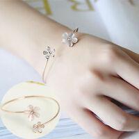 Wholesale Women Flower Crystal Gold Plated Cuff Bracelet Bangle Charm Jewelry