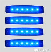 4 x 12V 12 VOLT LED BLUE SIDE FRONT MARKER LIGHT TRAILER VAN BUS DECORATION