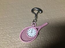 Racket Shape ) Pink Silver Tone Analog P Clipon Quartz Wrist Watch ( Tennis