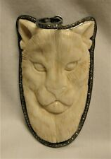 .925 Sterling Silver Natural Diamond Large Carved Panther Pendant Custom Made