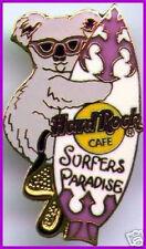 Hard Rock Cafe SURFERS PARADISE 1990s KOALA BEAR PIN HUGGING A SURFBOARD #9394