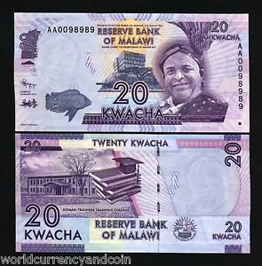 MALAWI 20 KWACHA P-57 2012 x 1000 Pcs Lot Brick 10 BUNDLE FISH COLLEGE UNC NOTE