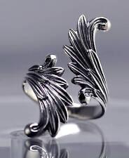 LOOK Celtic Moon Goddess Angel wings Fairy Ring Genuine Sterling silver .925 Jew
