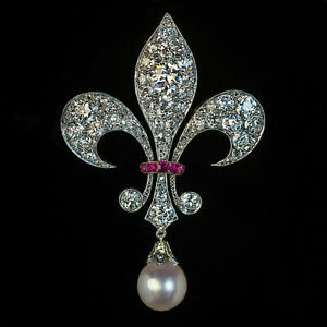 Antique 3.22ct Pearl,Ruby & Diamond Fleur-De-Lis 14K White Gold Over Brooch Pin