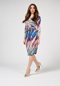 Jolie Moi Grace Twist Front Dress Blue Multi Size UK 14 BNWT NEW