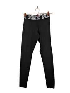 Victoria's Secret PINK Black Yoga White Logo Band Polyamide Leggings XS