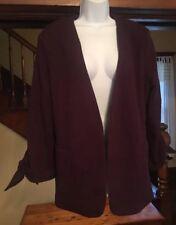 NWT Olivia Moon Women's Burgundy Tie Sleeve Knit Blazer Jacket Size XL
