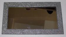 """Argento Glitter Specchio rettangolare con struttura in vetro/cornice - 14""""x 8"""" - NUOVO"""