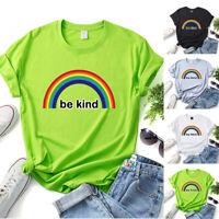 Women Rainbow Print T-shirt Casual Cotton Tees Short Sleeve Tops Summer Tees New